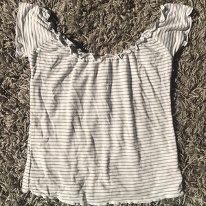 White and blue stripped off the shoulder tee